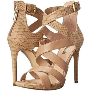 NEW GUESS ABBY STRAPPY HEELS FAUX LEATHE NATURAL 9